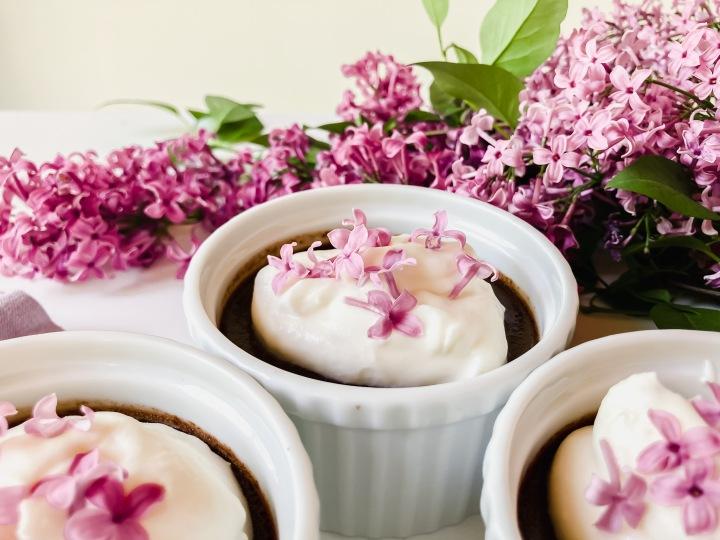 Chocolate Pots de Crème with LilacCream